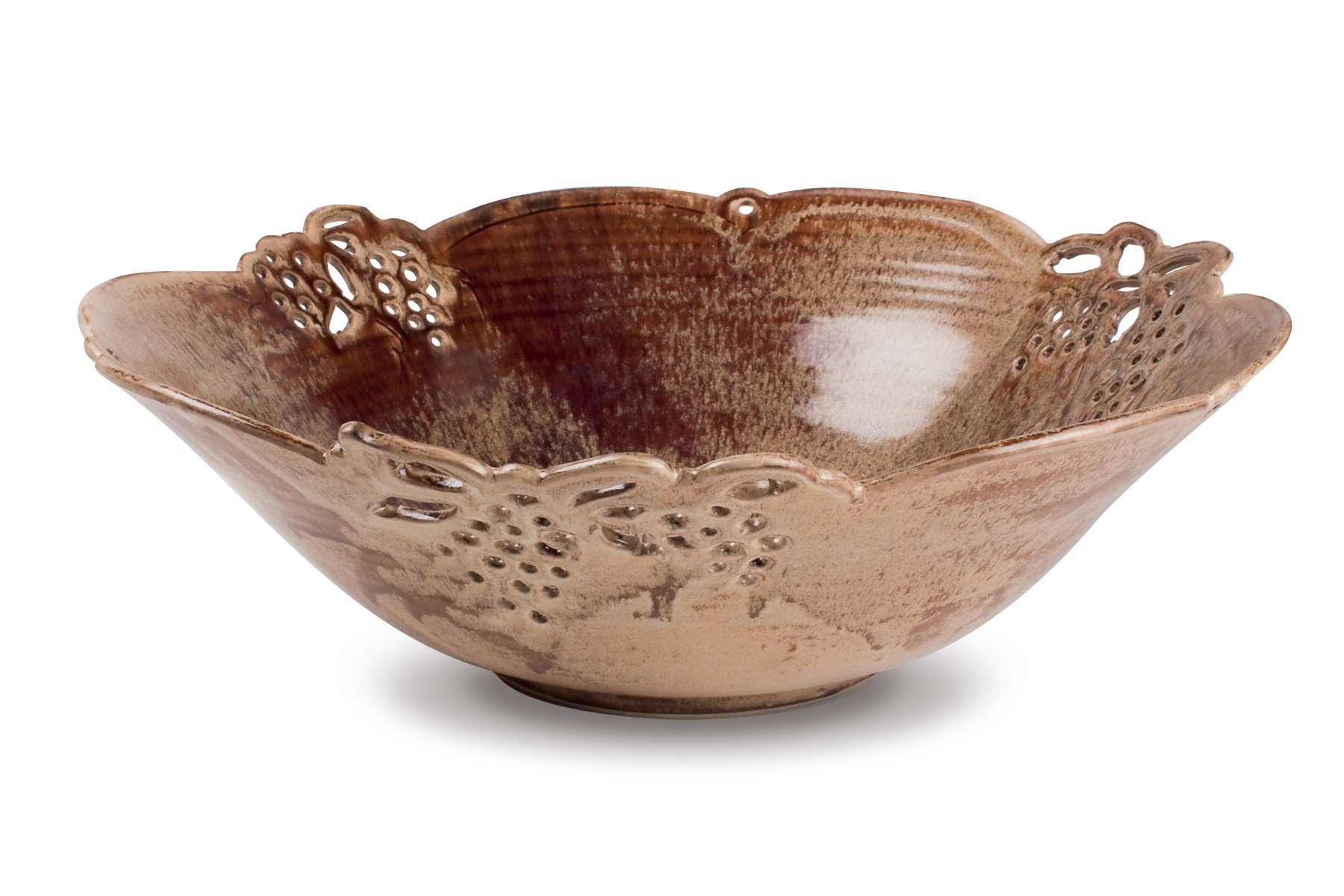 Grapes  Pierced and Sculpted Rim Bowl